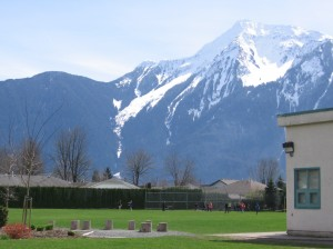 The back field of our school.  Our interemediate playground is just around the corner.  We have a beautiful view of Mt. Cheam.