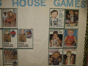 Intramurals/House Games are huge at our school.  Run by a few teachers, they go Monday-Thursday at lunch throughout the year for our intermediate students.  The boys each get recognized at some point with a little photoshop poster - just for fun!