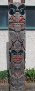 Our housepost at the front of our school, designed and created by local Sto:lo artist (Chehalis) Rocky Larock.