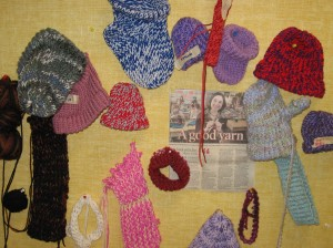 One of our classrooms is packed most lunch hours with knitters.  Our knitting club began after a huge interest was observed in our CHOICES program.